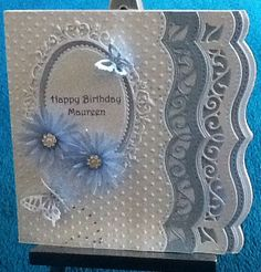 Spellbinders bracket dies for the edge of the card,delicate aster dies for flowers,joy die for oval . Butterfly Cards, Flower Cards, Pretty Cards, Cute Cards, Card Creator, Spellbinders Cards, Embossed Cards, Paper Cards, Creative Cards