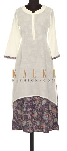 White and blue kurti in floral print only on Kalki