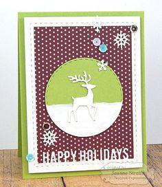 Happy Holidays Card  by Jeanne Streiff #Cardmaking, #TEMatched, #Christmas, #LittleBitsDies, #BuildAScene, #TE, #ShareJoy