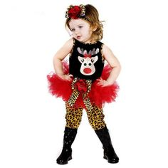 Fashion Newborn Baby Girl Christmas Clothing Sets New Years Santa Vetement Enfant Leopard Print Shirt And Dress