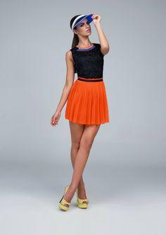#Spring #Summer two-toned pleated #orange #black #dress