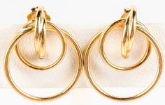 """Lot 75 in the 9.1.15 online & live auction! Lovely 14kt yellow gold pierced style earrings with circular designs. Marked """"14k"""", measures: .75"""" long. Total weight: .65 ozt. #Jewelry #Fashion #Shopping #POGAuctions"""