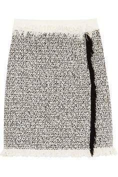 Lanvin | Fringed cotton-blend tweed mini skirt | NET-A-PORTER.COM