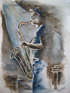 only a picture / no link Jazz Art, Music Pics, Black Art, Oeuvre D'art, Watercolor Art, Artwork, Art Drawings, Art Photography, Canvas Art