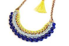 SALE Tribal Pearl Necklace Mint Blue Crochet Collier por gudbling