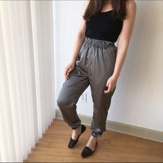 AA Satin Jumper Pant Satin jumper pants. Loose fit. Striped pattern. Elastic waist and ankles. Excellent condition! American Apparel Pants Track Pants & Joggers