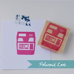 Polaroid hand-carved stamp