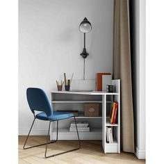 Bureau d'angle en bois blanc avec niche de rangement - BU6010