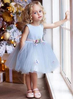 """The dress is """"made-to-order"""". Need to alter contact us confirm or use our fully … The dress is """"made-to-order"""". Need to alter contact us confirm or use our fully …,Blumenkinder The dress is """"made-to-order"""". Cute Flower Girl Dresses, Tulle Flower Girl, Girls Blue Dress, Little Girl Dresses, Simple Dresses, Girls Dresses, Flower Belt, Baby Flower, Vintage Flower Girls"""