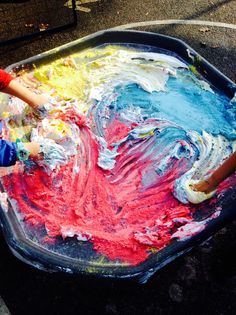 Shaving foam and powder paint mixing and mark making