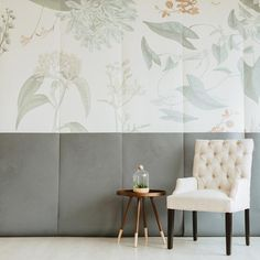 A delicate mural every minimalist needs. Details include:  A vintage botanical wallpaper withgreycolor block art design Smooth, matte finish Vintage botanical wallpaper design includes six panels