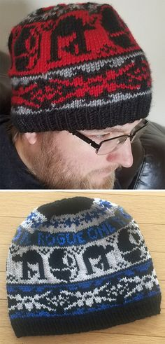 Free Knitting Pattern for Rogue One Hat - Star Wars inspired beanie features X-Wings, AT-ATs, and (pre-exploded) Death Stars in stranded colorwork with optional Rogue One lettering. Designed by Mrs. Luedeke. Pictured projects by MidniteRaine and HighlandLassie10