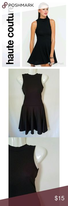 Black Turtleneck Skater Dress Excellent used condition. Haute Couture brand black turtleneck sleeveless skater dress. Waffle texture fabric. Ultra flattering fit. Haute Couture Dresses