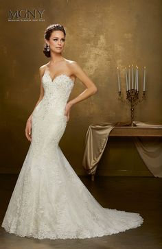Oniella Crystal beaded, frosted lace applqiués on tulle with hemlace over chantilly lace Detachable tulle train 51339 Chantilly Lace, Crystal Beads, Tulle, Bride, Wedding Dresses, Train, Collection, Fashion, Vestidos