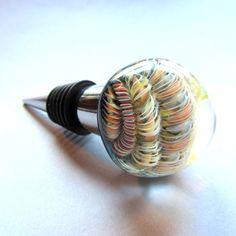 Glass wine bottle stopper flameworked by DerekJonesGlassArt
