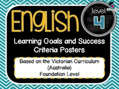 VICTORIAN CURRICULUM UPDATED TO VERSION 8.3 Grade Level 4 All English Learning Goals Success Criteria! VICTORIAN CURRICULUM This packet has all the posters you will need to display the learning goals for the whole year: Grade Level 4 VICTORIAN Curriculum English - Reading - Writing - Speaking and Listening (Language, Literature, Literacy)