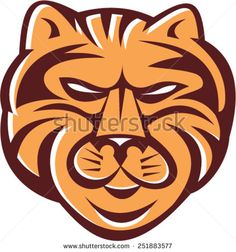 Illustration of a tiger head viewed from front set on isolated white background done in retro style.