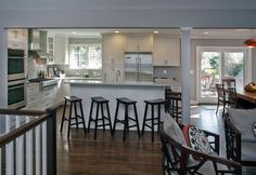 Ideal floor plan to open up living space in split level. Love the floors, open kitchen and counter eating space.