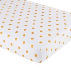 Baby Sheets: Gold Dotted Crib Fitted Sheet | The Land of Nod