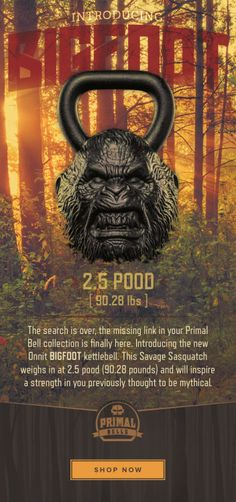 Introducing the new #Onnit #BIGFOOT #kettlebell. This Savage Sasquatch weighs in at 2.5 pood (90.28 pounds) #Primalbells