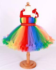 READY TO SHIP:  Petti Tutu Dress - Halloween or Birthday Costume - Rainbow - Cutie Patootie Clown - 3-4 Toddler Girl. $85.00, via Etsy.