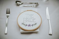 Embriodery Hoop Place Name Setting Creative DIY Rustic Lavender Wedding http://www.nataliepluck.com/
