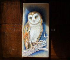 Handpainted art block on wood  BARN OWL  by thestoneteller on Etsy, $48.00