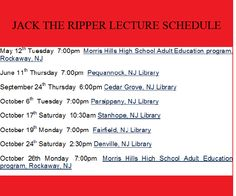 Mark Vogel's Jack the Ripper lecture shcedule.