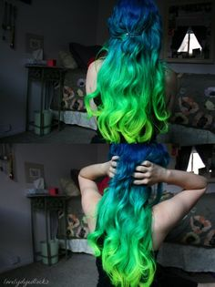 blue turquoise to green ombre hair