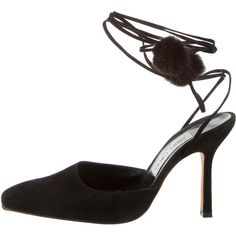 Jimmy Choo Suede Pumps (420 PEN) ❤ liked on Polyvore featuring shoes, pumps, black, black suede pumps, rounded toe pumps, black pumps, tie shoes and jimmy choo