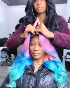 Arabella-Experienced More Than 10 Years in Human Hair Field. Shop Here For 613 blonde Body Wave Inch Lace Frontal Wig To Bloom Your Beauty! Hair Color Purple, Cool Hair Color, Blue Hair, Weave Hair Color, Lace Front Wigs, Lace Wigs, Black Women Hairstyles, Weave Hairstyles, Hairstyles Videos