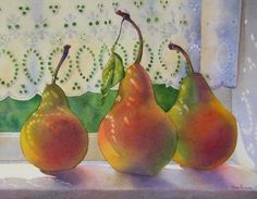 IT'S ABOUT SUMMER: Pear Trio watercolor still life painting, painting by artist Barbara Fox