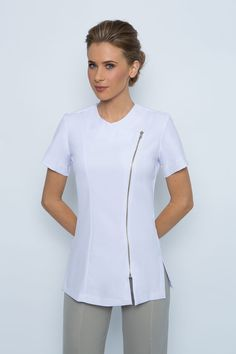 SPA-023 Tunic  Zip front, short sleeve.  Something a little different, professional yet stylish.  Very comfortable made from easy wash and wear corporate grade fabric  Available in black or white. ( white we do not keep in stock but make as ordered so please allow 2 weeks from time of order )  Available in sizes 6-24, View our sizing chart before ordering to determine your size.  Ideal as spa uniform, medical uniform, hairdresser uniform or any other work uniform