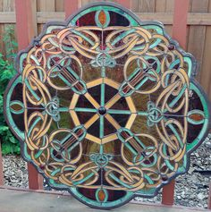 Stunning Stained Glass Panel 25 Round Scalloped Frame