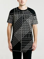 LUX BLACK GEO PRINT LONGER LENGTH T-SHIRT Ropa Casual Hombres d2fdc617e05