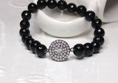 Perfect for that upcoming holiday party:)) Black Onyx Stretch Bracelet Gemstone Stack Beaded by LoveandLulu
