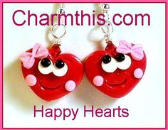 Happy Hearts Valentine's Polymer Clay  by CharmthisClayCharms
