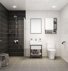 Bathroom Remodeling - Modern Grid - match two tones & simple line