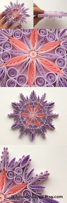 Snowflakes Purple Pink Christmas Tree Decoration Winter Ornaments Gifts Toppers Fillers Office Corporate Paper Quilling Handmade Quilled Art