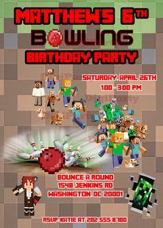 Hey, I found this really awesome Etsy listing at https://www.etsy.com/listing/183996390/minecraft-bowling-birthday-invitation
