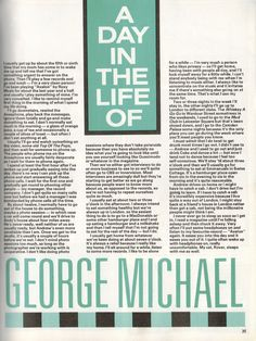 George Michael Songs, Andrew Ridgeley, Michael Love, Half Life, Magazine Articles, Love You, My Love, The Incredibles, Day