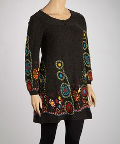 Take a look at this Aryeh Black Embroidered Tunic - Plus on zulily today!