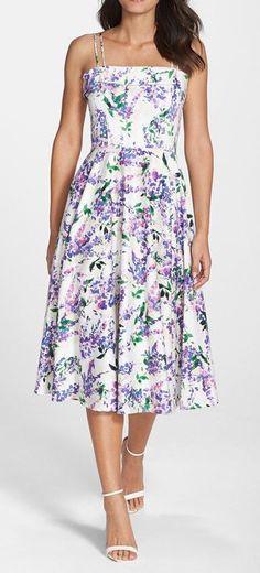 Floral Print Fit & Flare Midi Dress