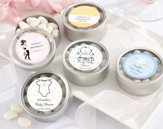 """""""Simply Sweet"""" Round, Personalized Candy Tin (set of 12) - Baby Shower Favors For Guests - Favors Baby Shower"""