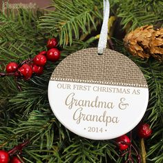 Our First Christmas As Grandparents Ornament - Burlap - Personalized Porcelain Rustic Holiday Ornament - New Baby -  orn433 - Peachwik