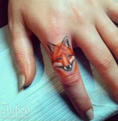 Loving this finger fox by Elizabeth Markov #InkedMagazine #fox #finger #tattoo #tattoos #inked #ink