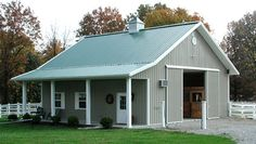 small Horse Barn One Story Metal Horse Barns, Small Horse Barns, Horse Barn Plans, Horse Shelter, Horse Stables, Horse Farms, Dream Stables, Pole Barn Designs, Barn With Living Quarters