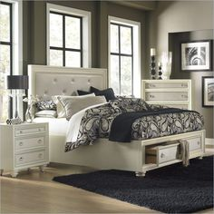 Magnussen Diamond Island w/Storage High Gloss White Bed #Magnussen