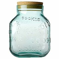 """Showcasing typographic accents and a cork stopper, this lovely cookie jar adds a charming touch to your kitchen island or pantry.  Biscotti Cookie Jar $17.95  Product: Cookie jarConstruction Material: Glass and corkColor: ClearDimensions: 8"""" H x 8"""" W x 5"""" D good to put change in"""