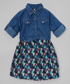 Love this Denim & Mint Geometric Dress - Toddler & Girls on #zulily! #zulilyfinds